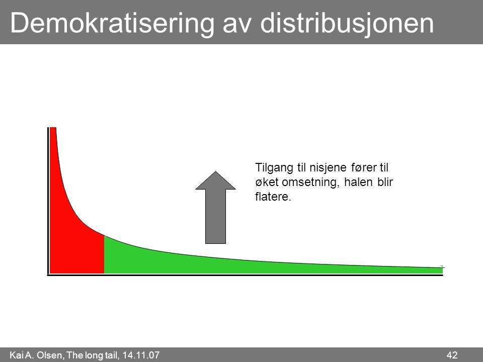 Kai A. Olsen, The long tail, 14.11.07 42 Demokratisering av distribusjonen Tilgang til nisjene fører til øket omsetning, halen blir flatere.