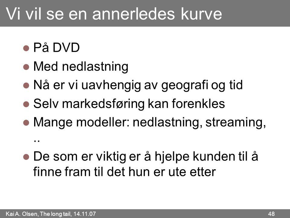 Kai A. Olsen, The long tail, 14.11.07 48 Vi vil se en annerledes kurve  På DVD  Med nedlastning  Nå er vi uavhengig av geografi og tid  Selv marke