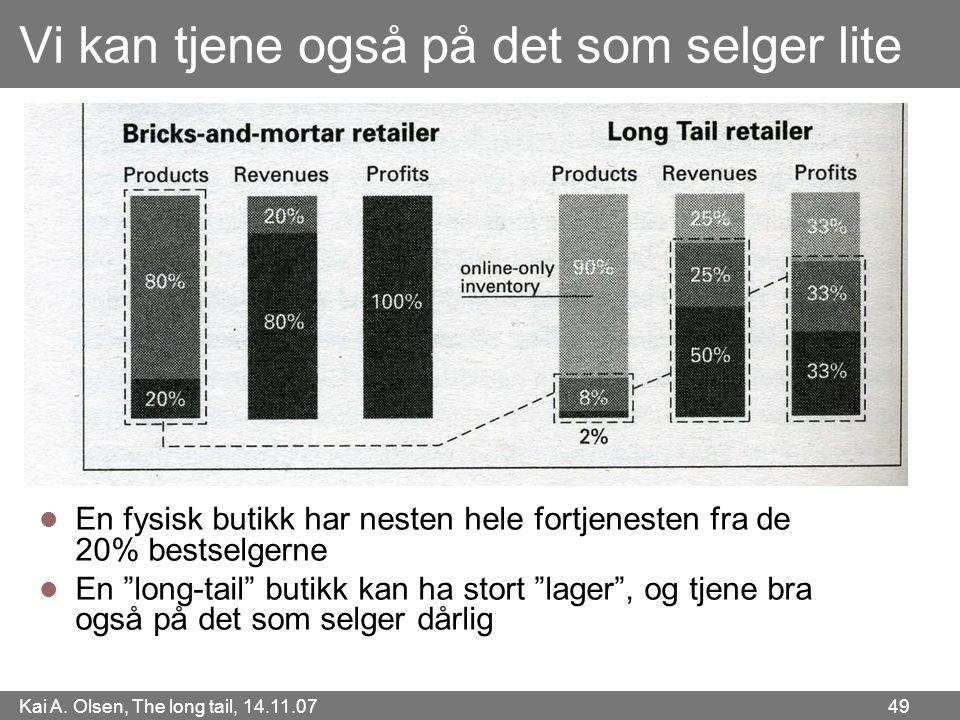 Kai A. Olsen, The long tail, 14.11.07 49 Vi kan tjene også på det som selger lite  En fysisk butikk har nesten hele fortjenesten fra de 20% bestselge
