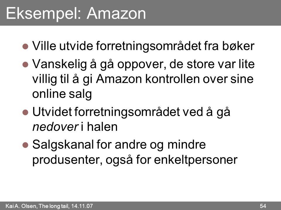 Kai A. Olsen, The long tail, 14.11.07 54 Eksempel: Amazon  Ville utvide forretningsområdet fra bøker  Vanskelig å gå oppover, de store var lite vill