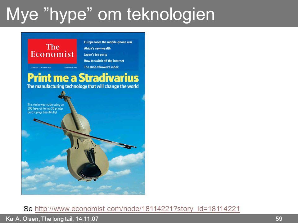 """Kai A. Olsen, The long tail, 14.11.07 59 Mye """"hype"""" om teknologien Se http://www.economist.com/node/18114221?story_id=18114221http://www.economist.com"""