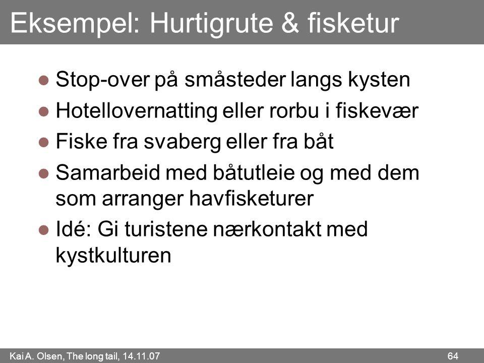 Kai A. Olsen, The long tail, 14.11.07 64 Eksempel: Hurtigrute & fisketur  Stop-over på småsteder langs kysten  Hotellovernatting eller rorbu i fiske