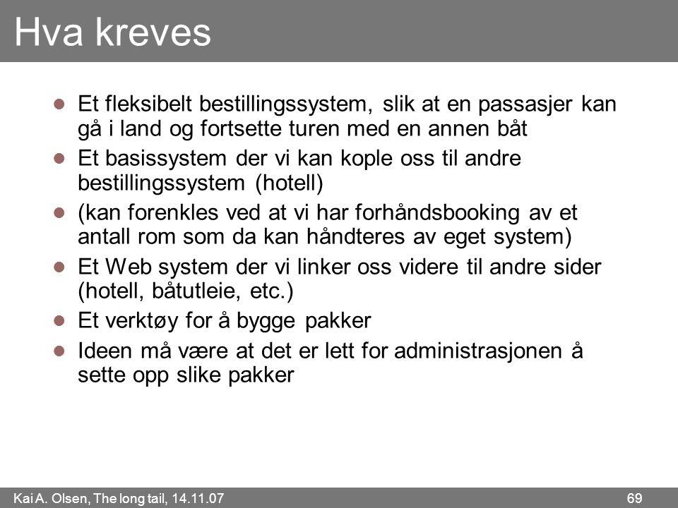 Kai A. Olsen, The long tail, 14.11.07 69 Hva kreves  Et fleksibelt bestillingssystem, slik at en passasjer kan gå i land og fortsette turen med en an