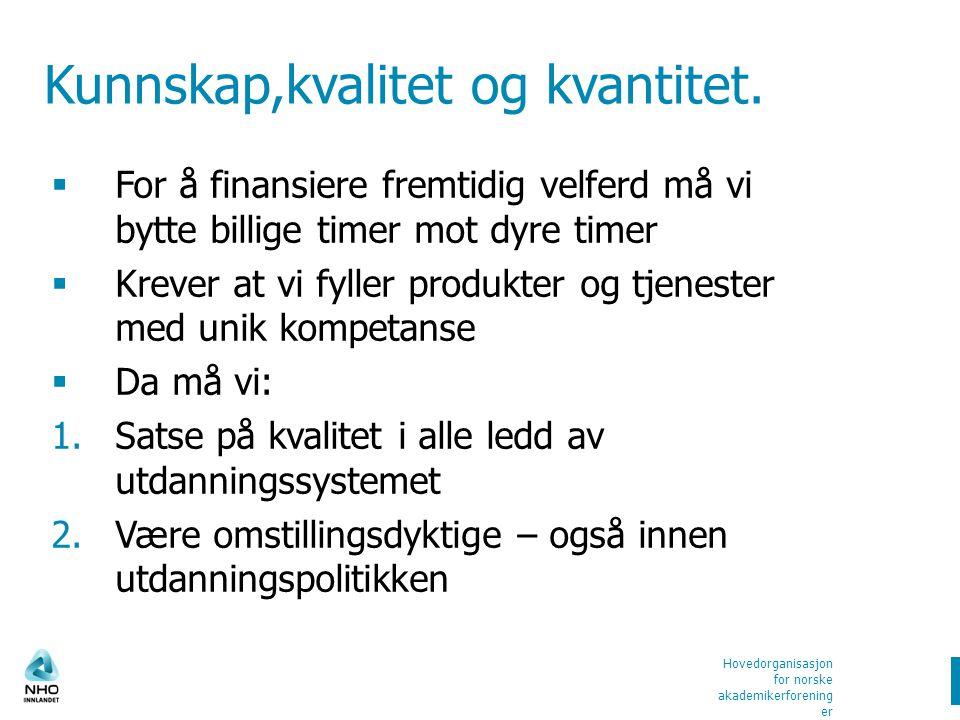 Hovedorganisasjon for norske akademikerforening er Kunnskap,kvalitet og kvantitet.