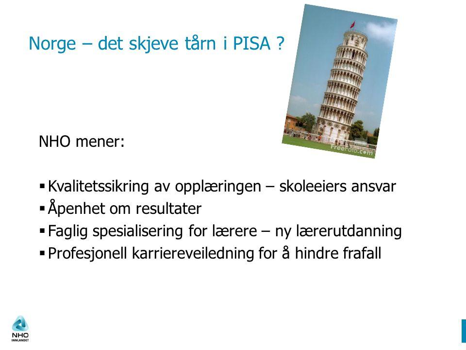 Norge – det skjeve tårn i PISA .