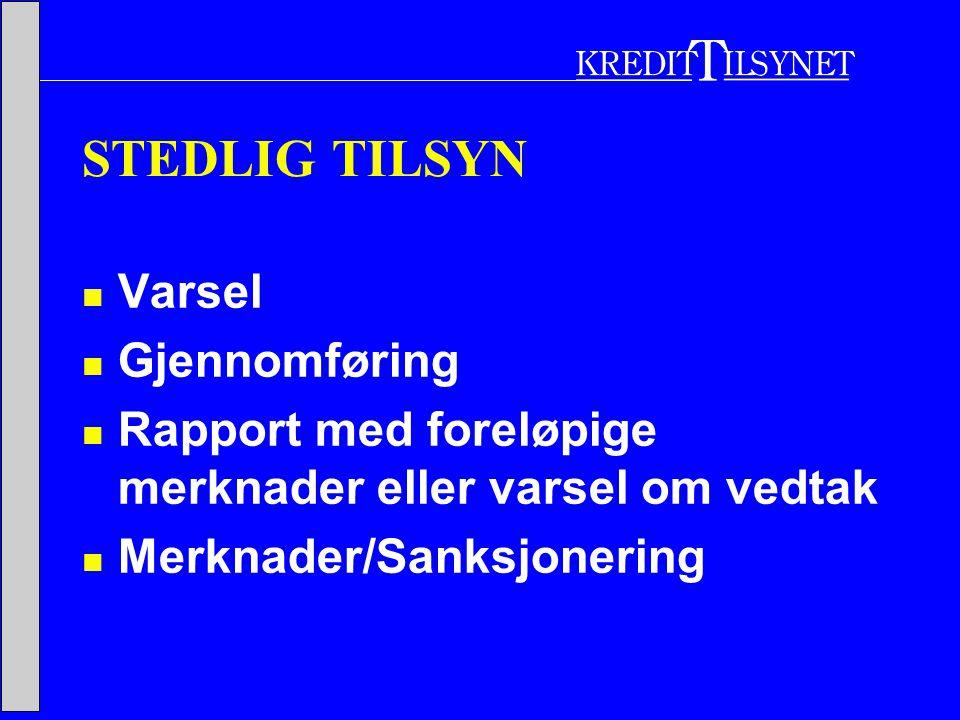 STEDLIG TILSYN  Varsel  Gjennomføring  Rapport med foreløpige merknader eller varsel om vedtak  Merknader/Sanksjonering