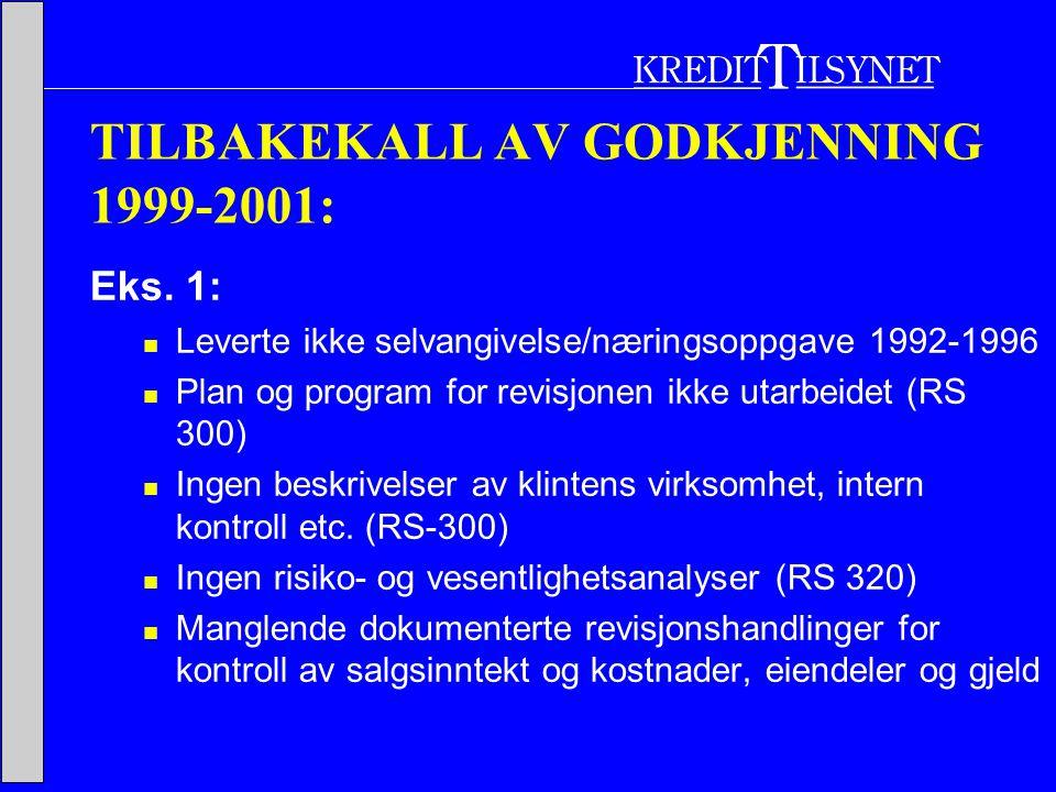 TILBAKEKALL AV GODKJENNING 1999-2001: Eks.