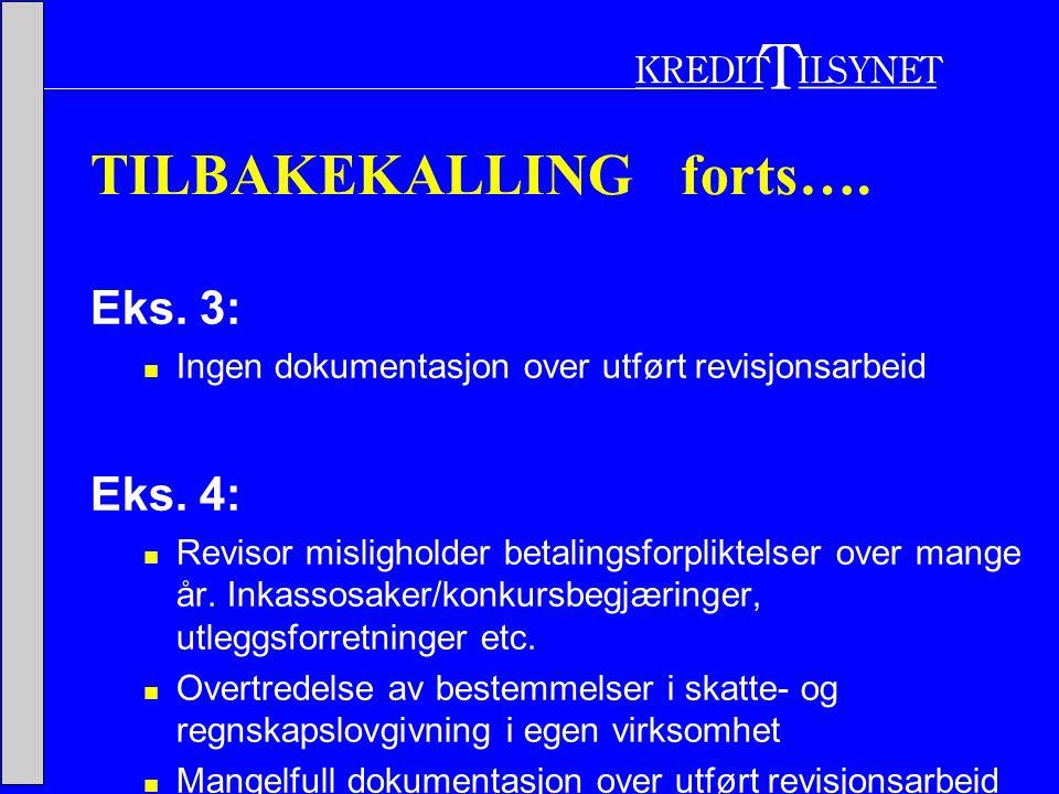 TILBAKEKALLING forts…. Eks. 3:  Ingen dokumentasjon over utført revisjonsarbeid Eks.