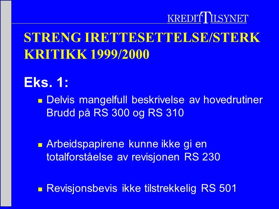 STRENG IRETTESETTELSE/STERK KRITIKK 1999/2000 Eks.