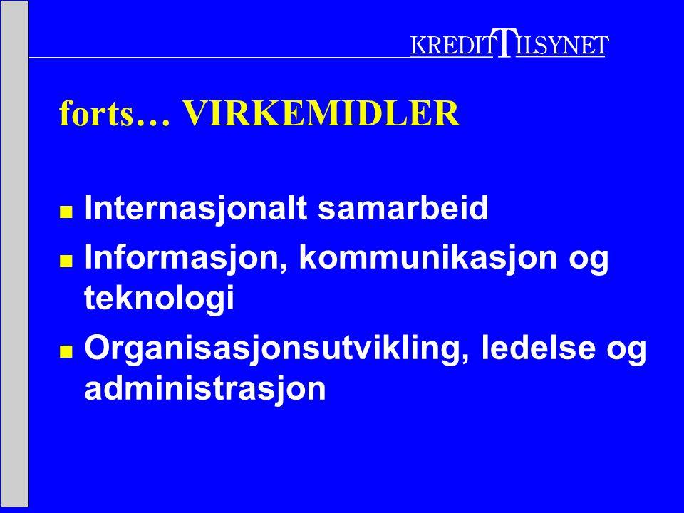 forts… VIRKEMIDLER  Internasjonalt samarbeid  Informasjon, kommunikasjon og teknologi  Organisasjonsutvikling, ledelse og administrasjon