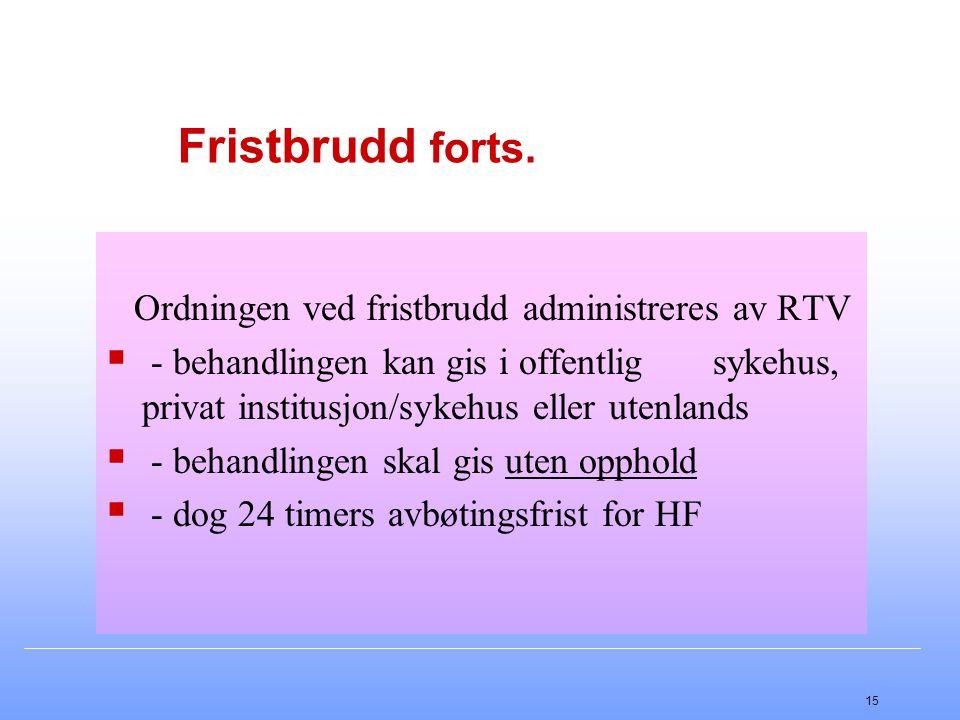 15 Fristbrudd forts. Ordningen ved fristbrudd administreres av RTV  - behandlingen kan gis i offentlig sykehus, privat institusjon/sykehus eller uten