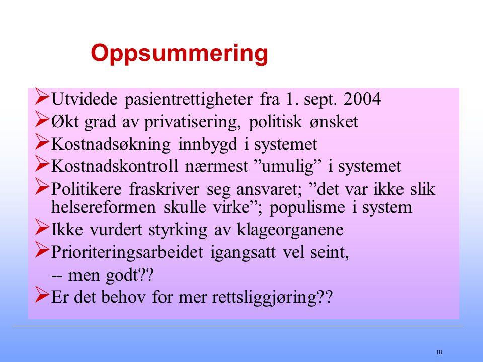 18 Oppsummering  Utvidede pasientrettigheter fra 1. sept. 2004  Økt grad av privatisering, politisk ønsket  Kostnadsøkning innbygd i systemet  Kos