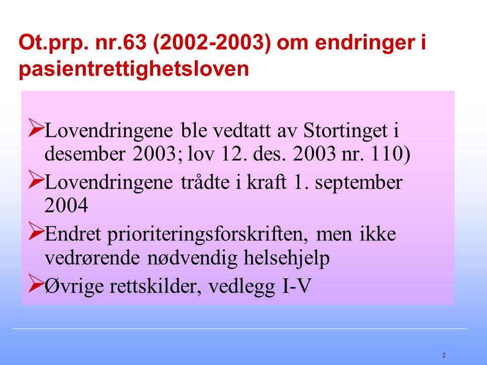 2 Ot.prp. nr.63 (2002-2003) om endringer i pasientrettighetsloven  Lovendringene ble vedtatt av Stortinget i desember 2003; lov 12. des. 2003 nr. 110