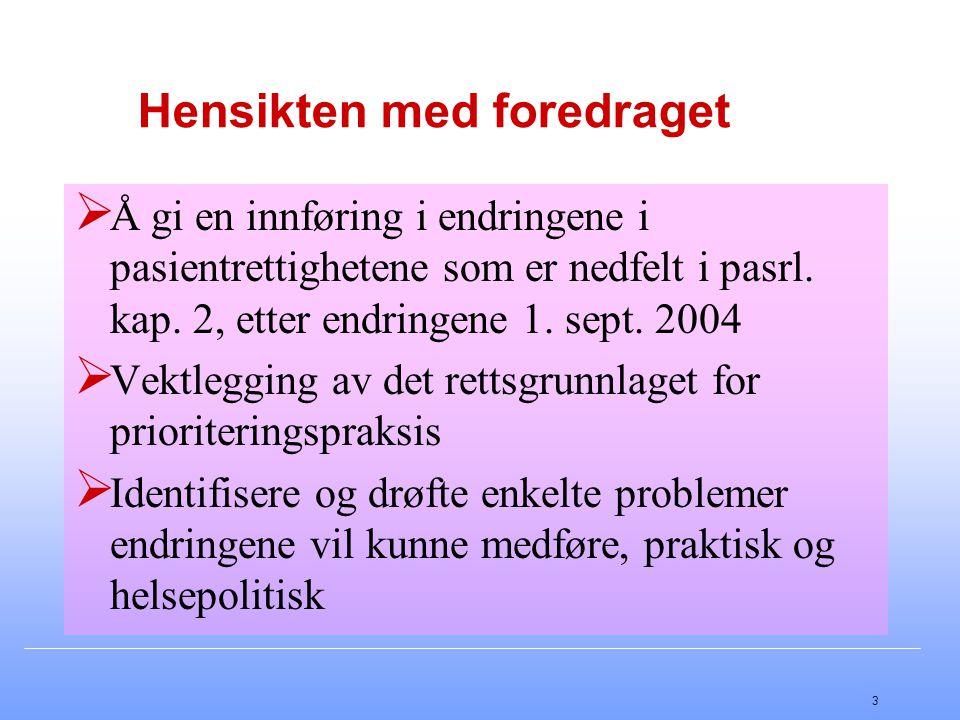 3 Hensikten med foredraget  Å gi en innføring i endringene i pasientrettighetene som er nedfelt i pasrl. kap. 2, etter endringene 1. sept. 2004  Vek