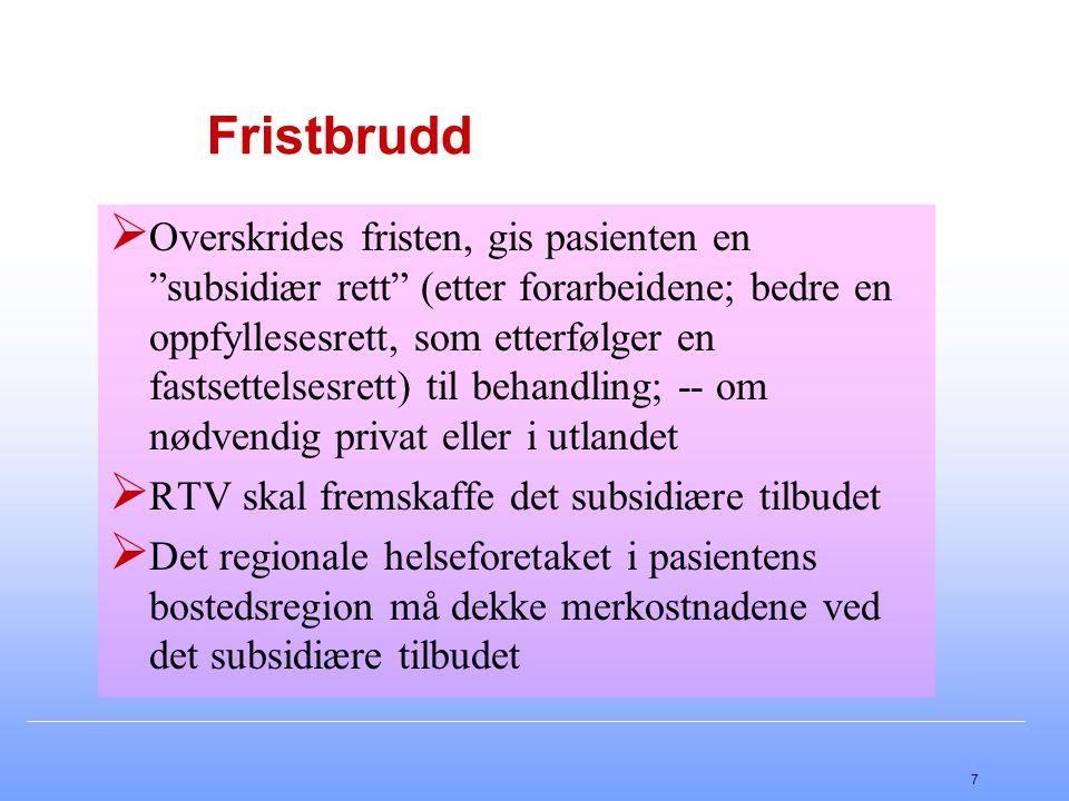 """7 Fristbrudd  Overskrides fristen, gis pasienten en """"subsidiær rett"""" (etter forarbeidene; bedre en oppfyllesesrett, som etterfølger en fastsettelsesr"""