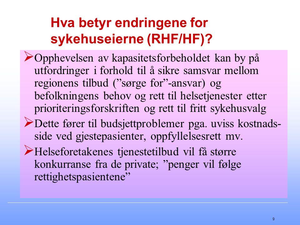 9 Hva betyr endringene for sykehuseierne (RHF/HF)?  Opphevelsen av kapasitetsforbeholdet kan by på utfordringer i forhold til å sikre samsvar mellom