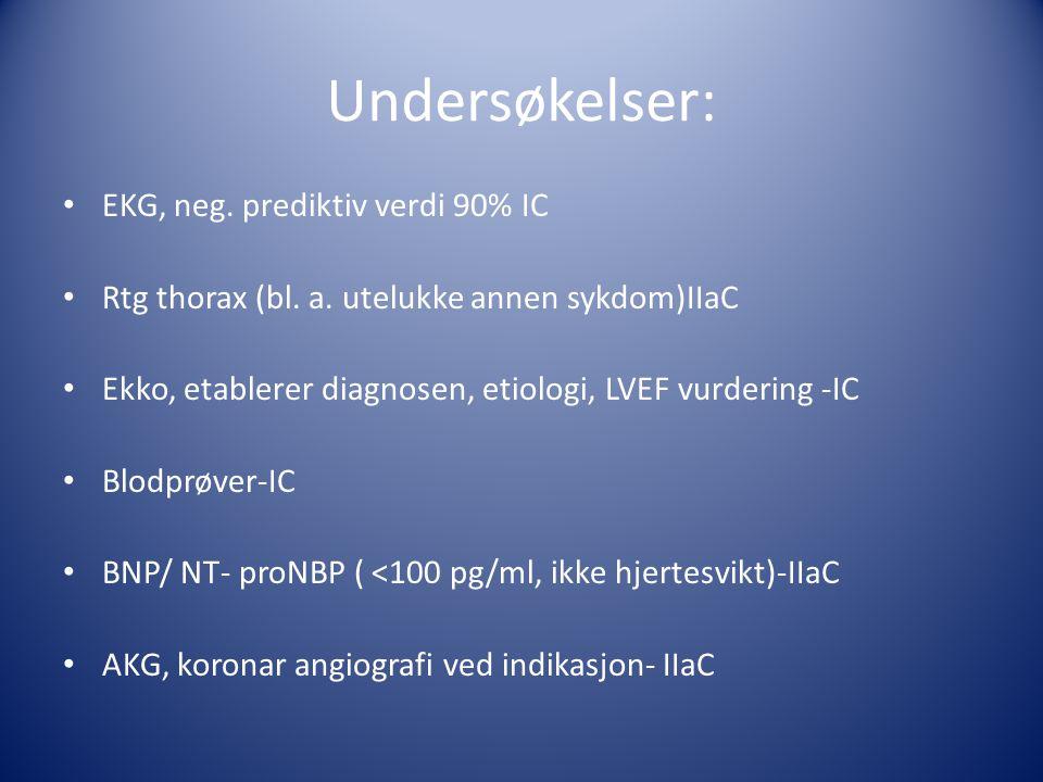 Undersøkelser: • EKG, neg. prediktiv verdi 90% IC • Rtg thorax (bl. a. utelukke annen sykdom)IIaC • Ekko, etablerer diagnosen, etiologi, LVEF vurderin