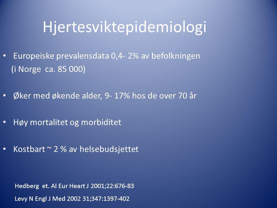 Hjertesviktepidemiologi • Europeiske prevalensdata 0,4- 2% av befolkningen (i Norge ca. 85 000) • Øker med økende alder, 9- 17% hos de over 70 år • Hø
