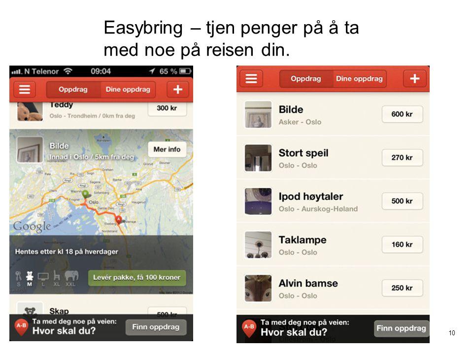 10 Easybring – tjen penger på å ta med noe på reisen din.