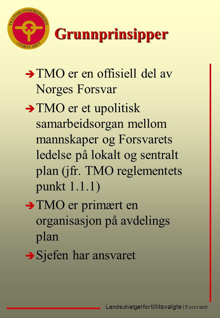 Landsutvalget for tillitsvalgte i Forsvaret Grunnprinsipper è TMO er en offisiell del av Norges Forsvar è TMO er et upolitisk samarbeidsorgan mellom m