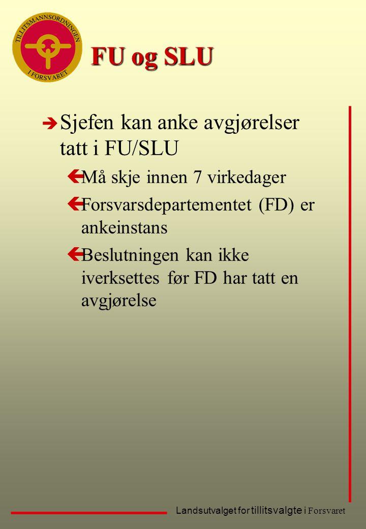 Landsutvalget for tillitsvalgte i Forsvaret FU og SLU è Sjefen kan anke avgjørelser tatt i FU/SLU çMå skje innen 7 virkedager çForsvarsdepartementet (