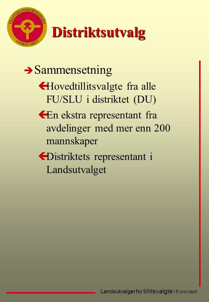 Landsutvalget for tillitsvalgte i Forsvaret Distriktsutvalg è Sammensetning çHovedtillitsvalgte fra alle FU/SLU i distriktet (DU) çEn ekstra represent