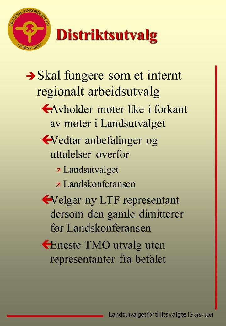 Landsutvalget for tillitsvalgte i Forsvaret Distriktsutvalg è Skal fungere som et internt regionalt arbeidsutvalg çAvholder møter like i forkant av mø