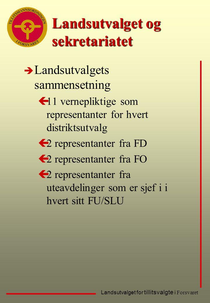 Landsutvalget for tillitsvalgte i Forsvaret Landsutvalget og sekretariatet è Landsutvalgets sammensetning ç11 vernepliktige som representanter for hve