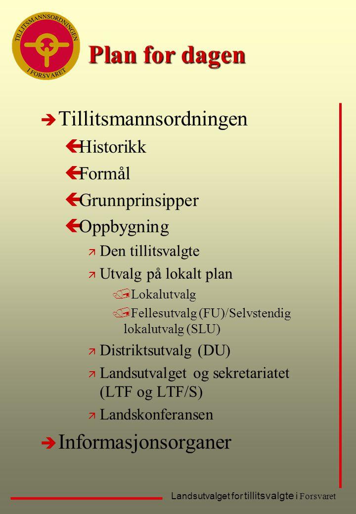 Plan for dagen è Tillitsmannsordningen çHistorikk çFormål çGrunnprinsipper çOppbygning ä Den tillitsvalgte ä Utvalg på lokalt plan /Lokalutvalg /Felle