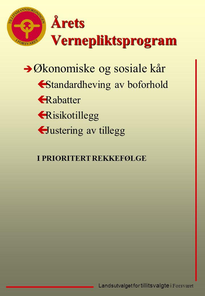 Landsutvalget for tillitsvalgte i Forsvaret Årets Vernepliktsprogram è Økonomiske og sosiale kår çStandardheving av boforhold çRabatter çRisikotillegg