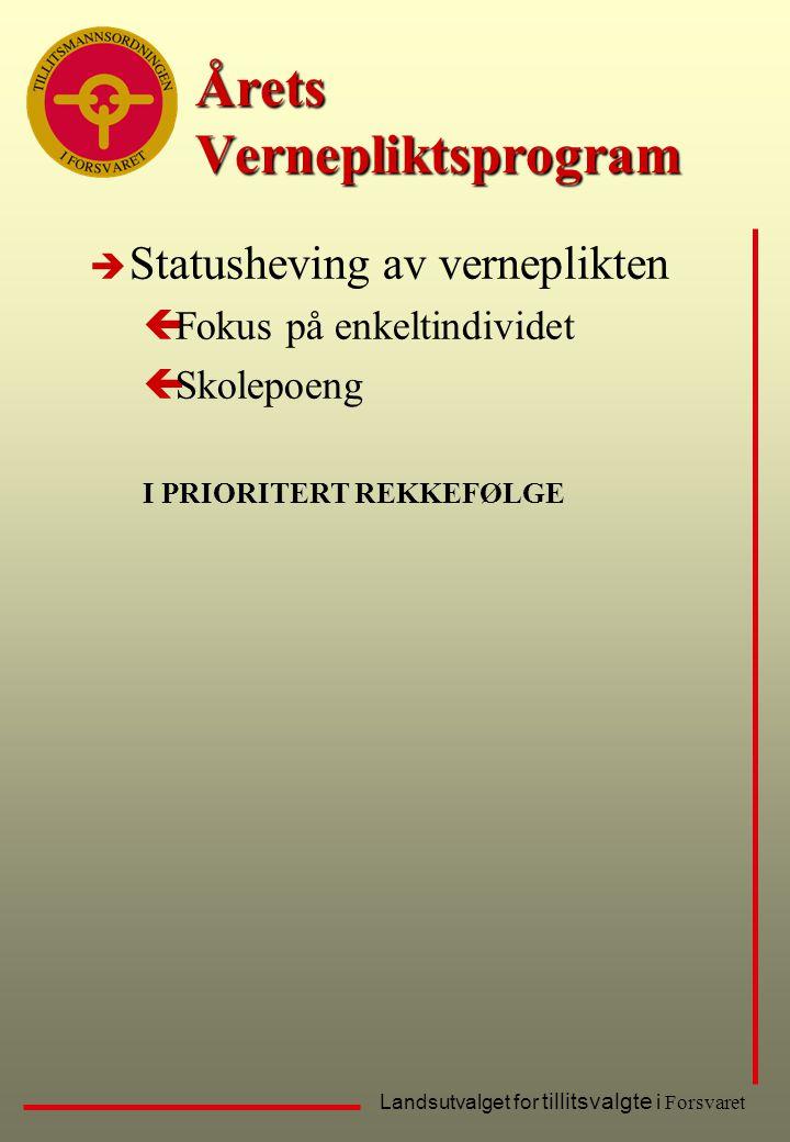 Landsutvalget for tillitsvalgte i Forsvaret Årets Vernepliktsprogram è Statusheving av verneplikten çFokus på enkeltindividet çSkolepoeng I PRIORITERT