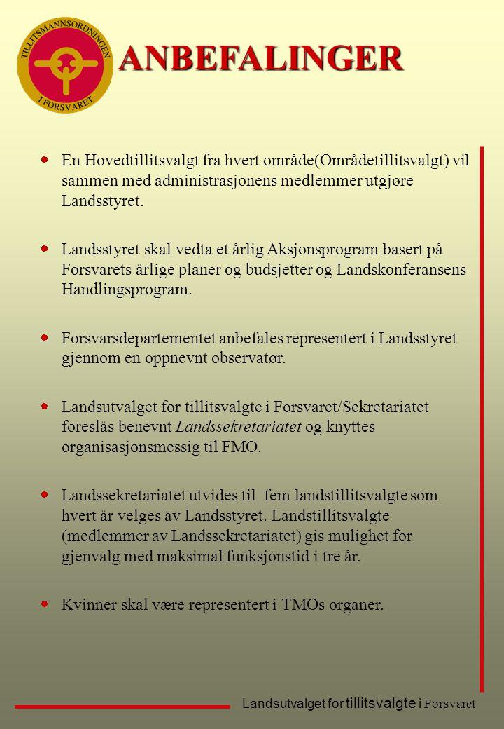 Landsutvalget for tillitsvalgte i ForsvaretANBEFALINGER  En Hovedtillitsvalgt fra hvert område(Områdetillitsvalgt) vil sammen med administrasjonens m