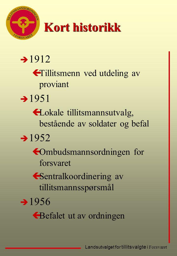 Landsutvalget for tillitsvalgte i Forsvaret Kort historikk è 1912 çTillitsmenn ved utdeling av proviant è 1951 çLokale tillitsmannsutvalg, bestående a