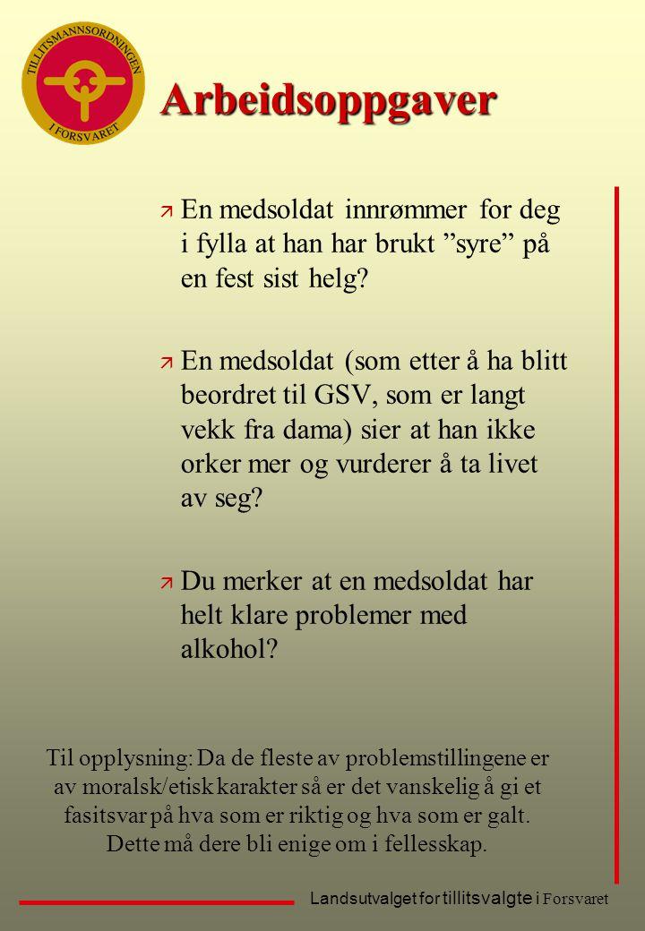 """Landsutvalget for tillitsvalgte i Forsvaret Arbeidsoppgaver ä En medsoldat innrømmer for deg i fylla at han har brukt """"syre"""" på en fest sist helg? ä E"""