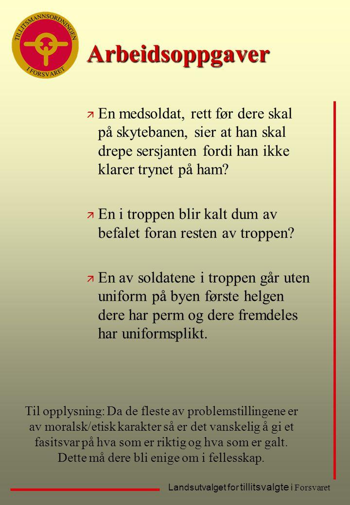 Landsutvalget for tillitsvalgte i Forsvaret ä En medsoldat, rett før dere skal på skytebanen, sier at han skal drepe sersjanten fordi han ikke klarer