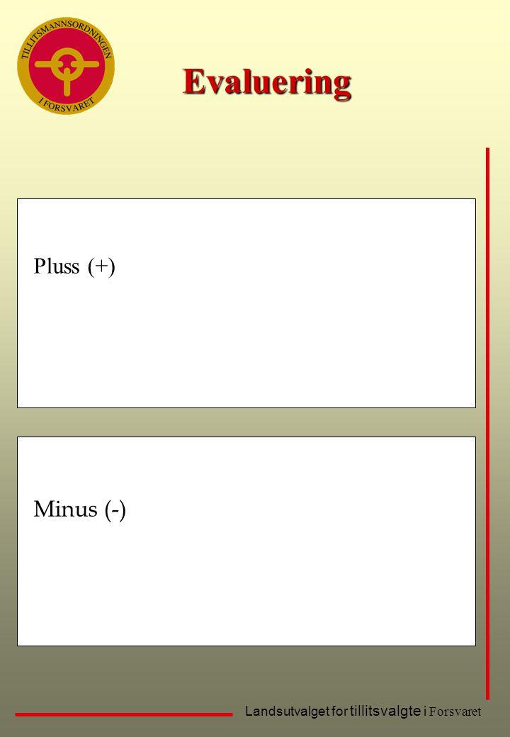 Landsutvalget for tillitsvalgte i Forsvaret Evaluering Pluss (+) Minus (-)