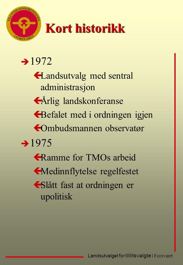 Landsutvalget for tillitsvalgte i Forsvaret Kort historikk è 1972 çLandsutvalg med sentral administrasjon çÅrlig landskonferanse çBefalet med i ordnin