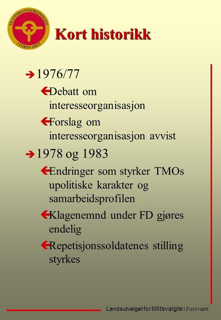 Landsutvalget for tillitsvalgte i Forsvaret Kort historikk è 1976/77 çDebatt om interesseorganisasjon çForslag om interesseorganisasjon avvist è 1978