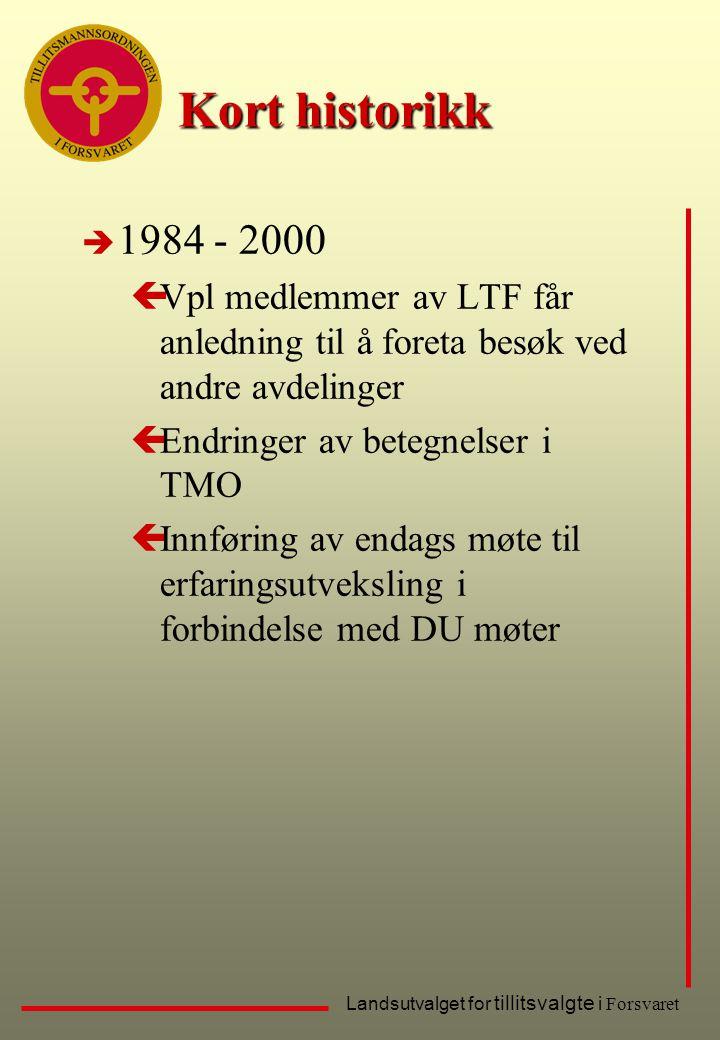 Landsutvalget for tillitsvalgte i Forsvaret Kort historikk è 1984 - 2000 çVpl medlemmer av LTF får anledning til å foreta besøk ved andre avdelinger ç