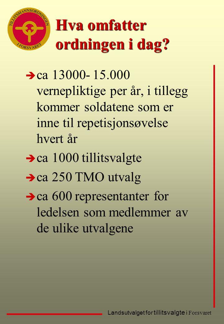 Landsutvalget for tillitsvalgte i Forsvaret Hva omfatter ordningen i dag? è ca 13000- 15.000 vernepliktige per år, i tillegg kommer soldatene som er i