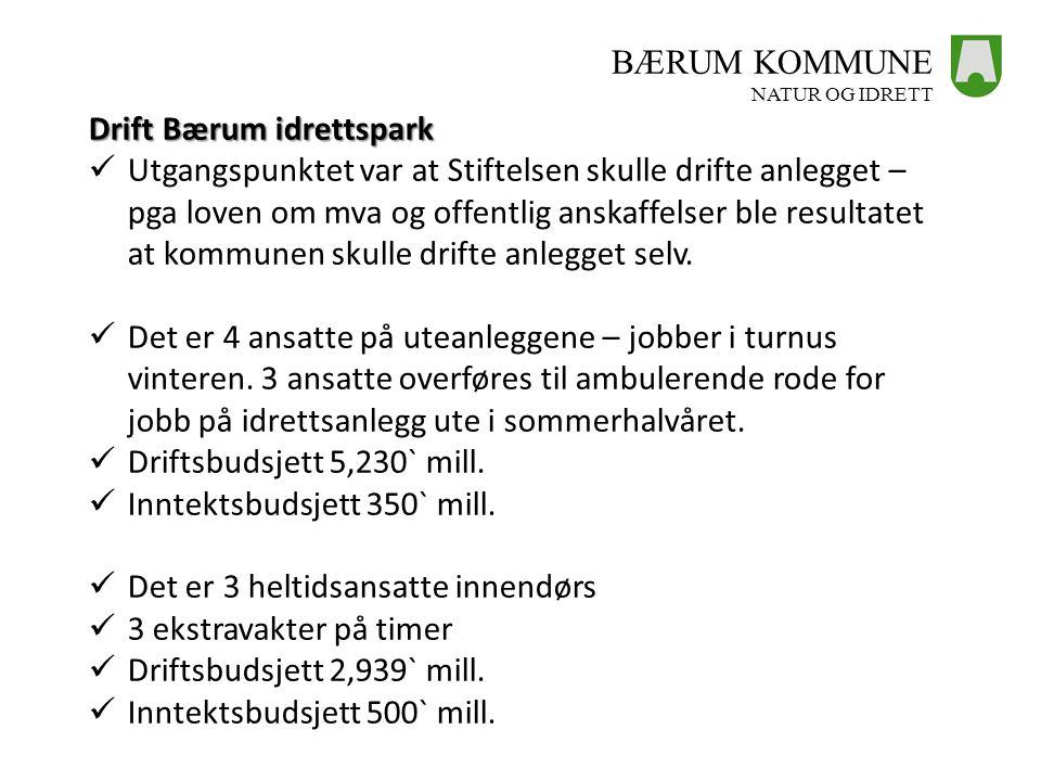 BÆRUM KOMMUNE NATUR OG IDRETT Drift Bærum idrettspark  Utgangspunktet var at Stiftelsen skulle drifte anlegget – pga loven om mva og offentlig anskaf