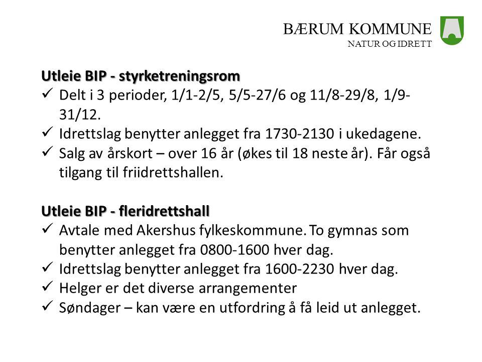 BÆRUM KOMMUNE NATUR OG IDRETT Utleie BIP - styrketreningsrom  Delt i 3 perioder, 1/1-2/5, 5/5-27/6 og 11/8-29/8, 1/9- 31/12.  Idrettslag benytter an