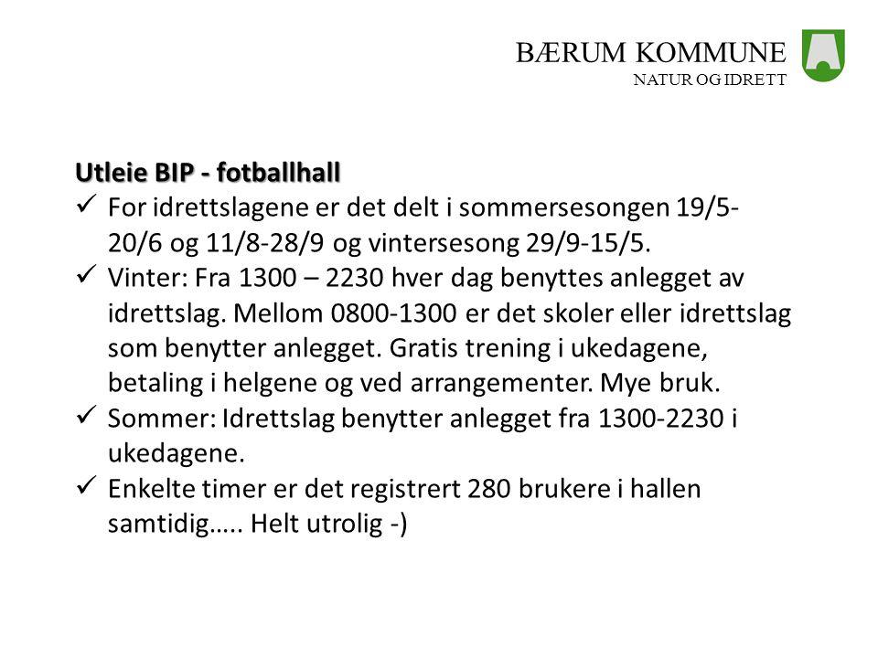 BÆRUM KOMMUNE NATUR OG IDRETT Utleie BIP - fotballhall  For idrettslagene er det delt i sommersesongen 19/5- 20/6 og 11/8-28/9 og vintersesong 29/9-1