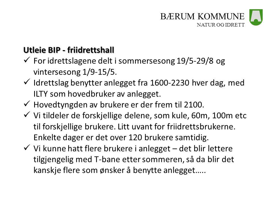 BÆRUM KOMMUNE NATUR OG IDRETT Utleie BIP - friidrettshall  For idrettslagene delt i sommersesong 19/5-29/8 og vintersesong 1/9-15/5.  Idrettslag ben