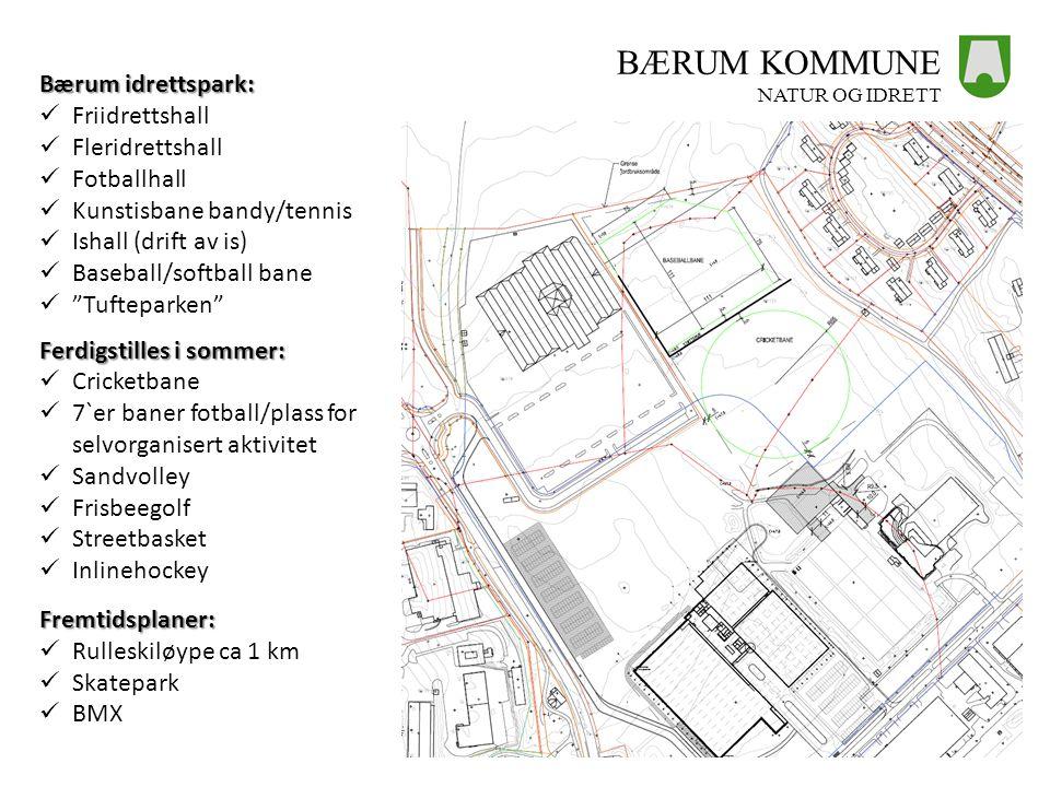 BÆRUM KOMMUNE NATUR OG IDRETT Bærum idrettspark:  Friidrettshall  Fleridrettshall  Fotballhall  Kunstisbane bandy/tennis  Ishall (drift av is) 
