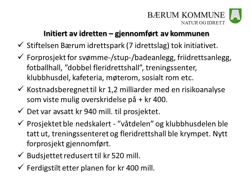 BÆRUM KOMMUNE NATUR OG IDRETT Initiert av idretten – gjennomført av kommunen  Stiftelsen Bærum idrettspark (7 idrettslag) tok initiativet.  Forprosj