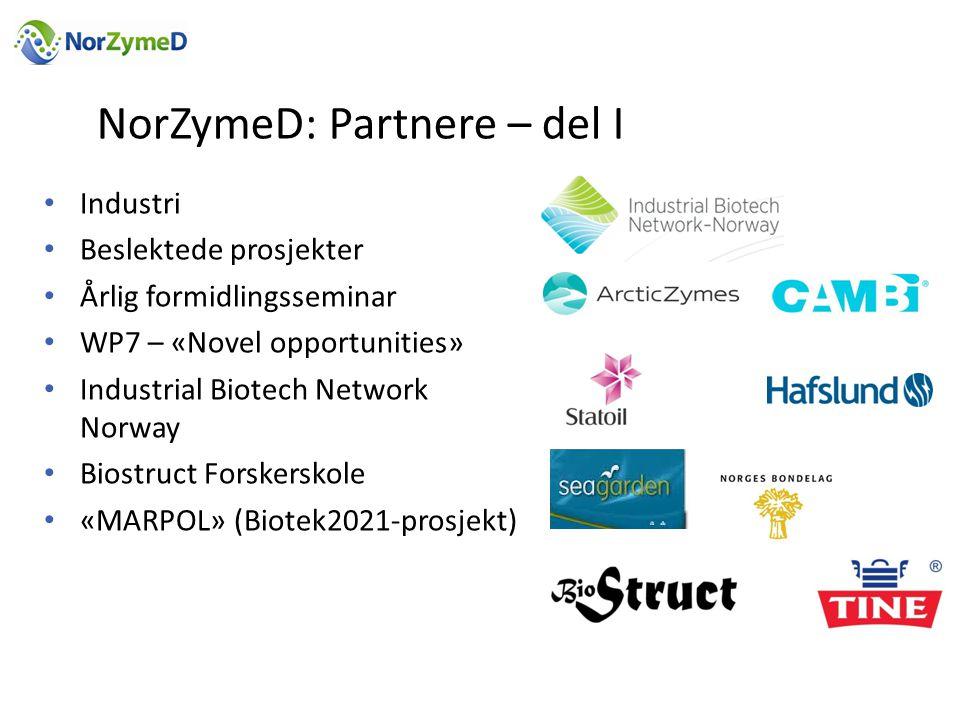 NorZymeD: Partnere – del I • Industri • Beslektede prosjekter • Årlig formidlingsseminar • WP7 – «Novel opportunities» • Industrial Biotech Network Norway • Biostruct Forskerskole • «MARPOL» (Biotek2021-prosjekt)