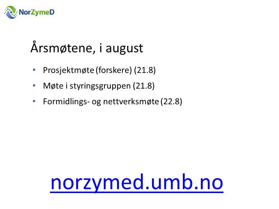 Årsmøtene, i august • Prosjektmøte (forskere) (21.8) • Møte i styringsgruppen (21.8) • Formidlings- og nettverksmøte (22.8) norzymed.umb.no