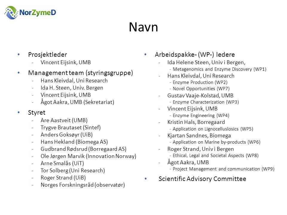 Navn • Prosjektleder -Vincent Eijsink, UMB • Management team (styringsgruppe) -Hans Kleivdal, Uni Research -Ida H.