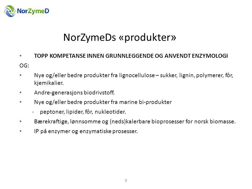 8 NorZymeDs «produkter » • TOPP KOMPETANSE INNEN GRUNNLEGGENDE OG ANVENDT ENZYMOLOGI OG: • Nye og/eller bedre produkter fra lignocellulose – sukker, lignin, polymerer, fôr, kjemikalier.